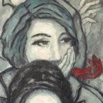"""""""Espectadoras de Noviembre"""", óleo sobre lienzo, 100x40 cm, (2015)"""