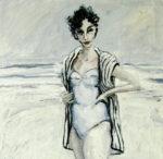 """Bañista con albornoz"", óleo sobre lienzo, 61x38 cm, (2001)"