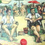 """""""Bañistas de septiembre I """", óleo sobre lienzo, 27x35 cm, (2010)"""
