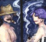 """""""Bañistas fumadores""""´(dos Tablas), óleo sobre tabla, 115x20 cm, (2005)"""