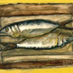 """Dos sardinas II"", óleo sobre tabla, 23x28 cm (1999)"