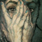 """Espectadora que se oculta"", óleo sobre lienzo, 24x18 cm, (2016)"