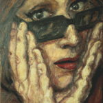 """Espectadora quitándose las gafas"", óleo sobre lienzo, 24x18 cm, (2016)"
