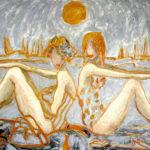 """""""Queta y yo en la playa"""", óleo sobre tabla, 60x100 cm, (2003)"""