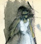 """Loca"", acuarela, 17x10 cm, (1985)"