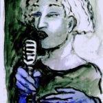 """""""Cantante azul"""", óleo y pastel sobre papel, 42x30 cm, (2012)"""
