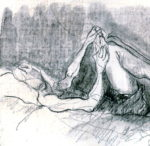 """""""Lectora sobre la cama"""", grafito sobre cartulina, 11x16 cm, (2008)"""