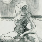 """""""Lectora enfrascada"""", grafito sobre cartulina, 16x11 cm, (2009)"""