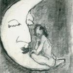 """""""Luna dormida"""", grafito sobre cartulina, 16x11 cm, (2009)"""