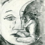 """Mujer llorando en la luna"", grafito sobre cartulina, 16x11 cm, (2009)"