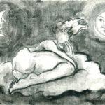 """Mujer sobre nube"", grafito sobre cartulina, 11x16 cm, (2009)"