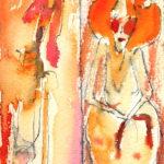 """""""Dos pelirrojas"""", acuarela sobre papel, 18x9 cm, (1999)"""