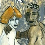 """Pareja con luna turca III"", óleo sobre papel, 33x23 cm, (2003)"