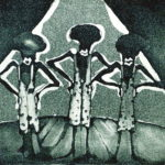 """""""Trío de cantantes negras"""", grabado sobre papel, 13x18 cm, (1985)"""